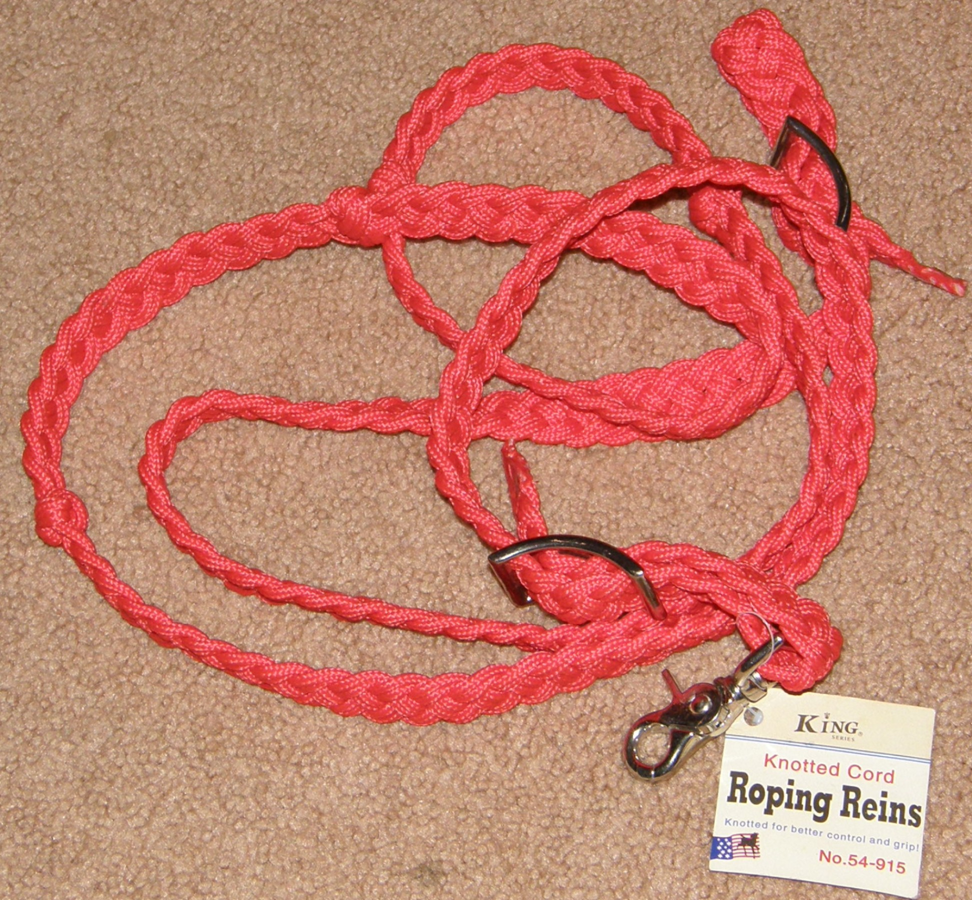 Royal King Knotted Cord Roping Reins Braided Cord Gaming Rein Red Purple Black