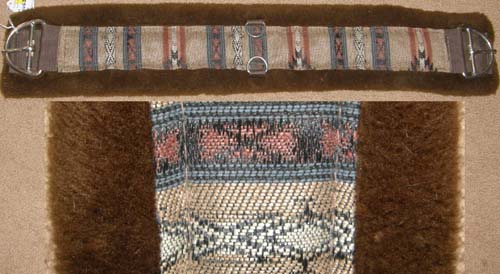 "Southwestern Print Fleece Western Girth Fleece Lined Western Cinch 31"" Brown"