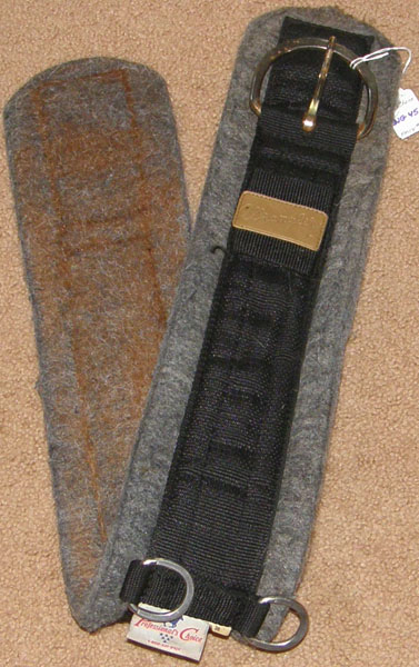 "Professionals Choice Wrangler Equisential Felt Western Cinch Felt Lined Western Girth 36"" Black/Grey"