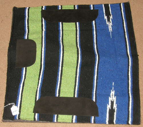 Showman? Navajo Blanket Top Western Saddle Pad Thick Felt Pad Small Pony Pad 24x24 Blue/Black/Lime Green/White