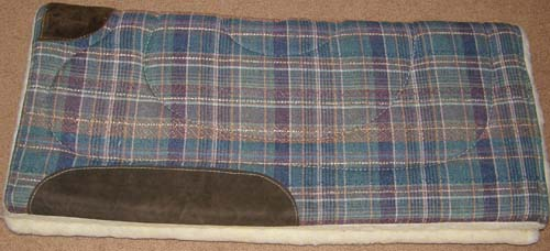 American Saddlery Square Western Saddle Pad Fleece Lined Western Pad Teal/Peach/Burgundy/Tan Plaid 31x28