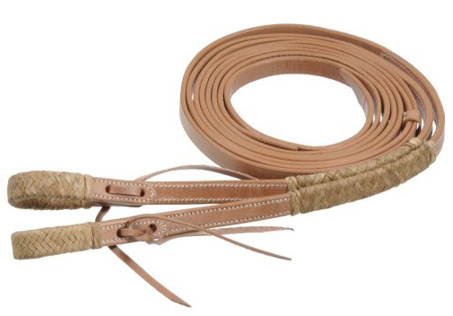 "Royal King Western Split Reins Braided Rawhide Accents Waterloop Ends Braided Rawhide Trim Western Reins Lt Oil 5/8"" x 7'"