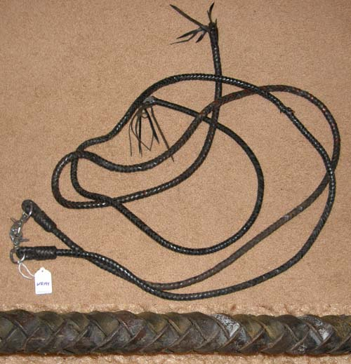 "Round Braided Leather Western Split Reins Plaited Western Reins Dark Brown Softy Split Reins 1/2"" x 7'"