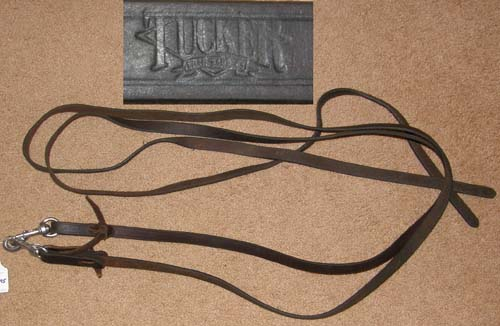 "Tucker Leather Western Reins Water Loops Western Split Reins Snaps Single Ply Bridle Leather Reins Snap Ends Dark Oil 3/4"" x 7'"