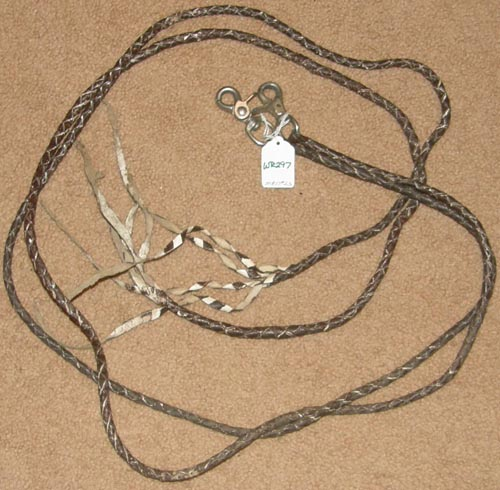 "Round Braided Leather Western Reins Plaited Western Split Reins Brown 1/4"" x 6'"