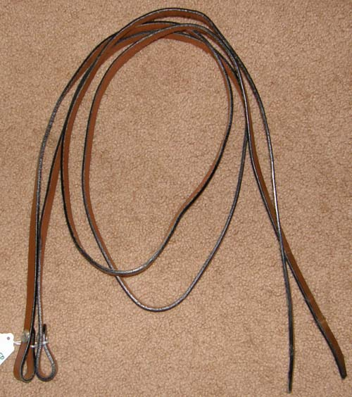 "Leather Western Reins Western Split Reins Dark Chestnut 5/8"" x 6'"