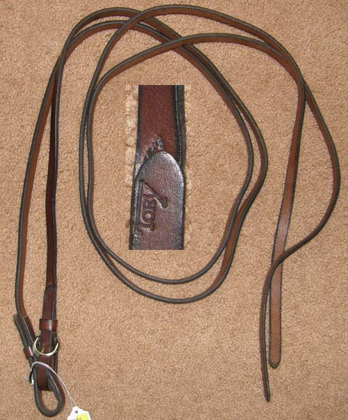 "Tory Western Reins Western Split Reins Buckle Ends Dark Oil Bridle Leather 5/8"" x 7'"