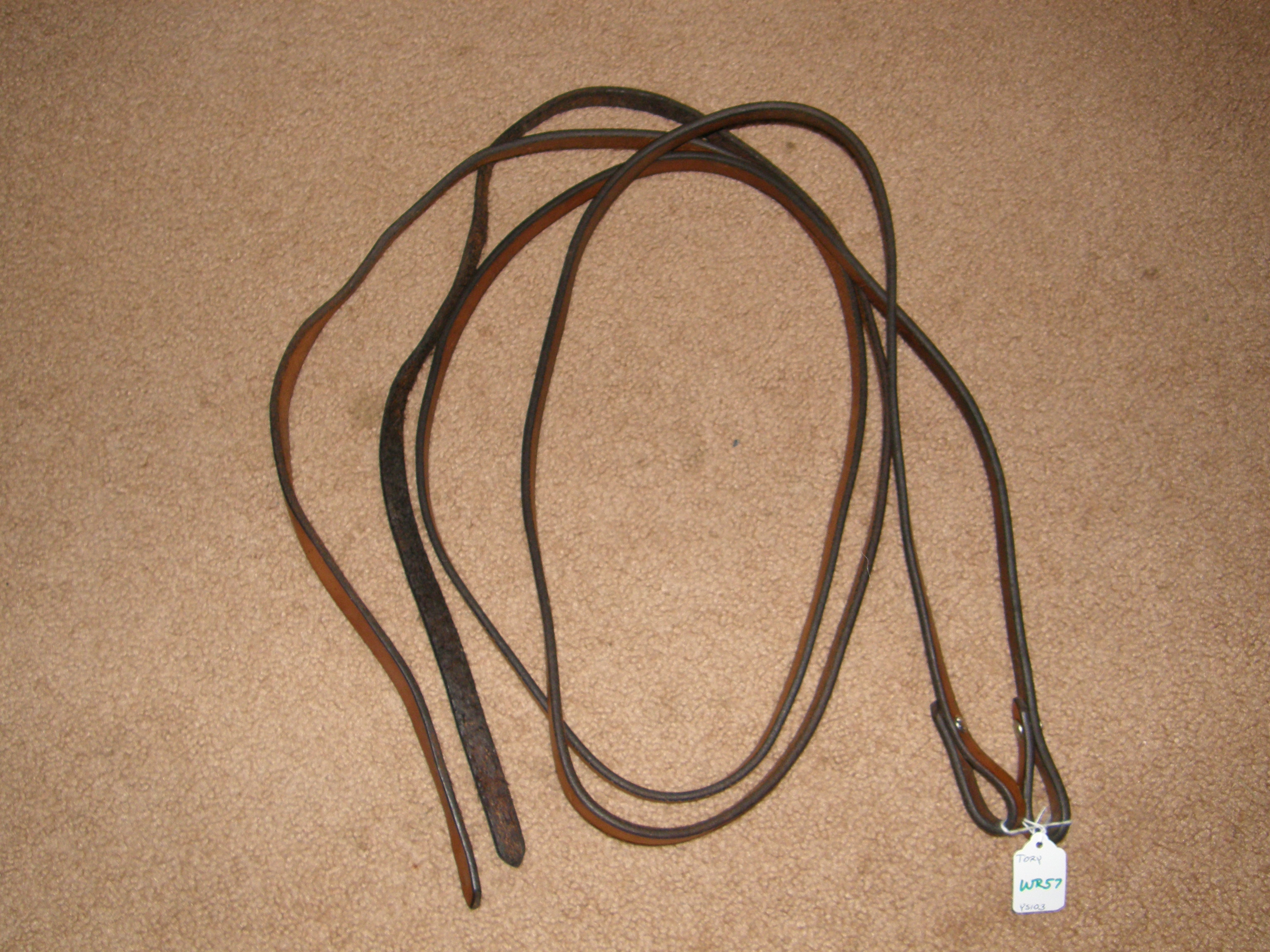 "Tory Western Reins Western Split Reins Bridle Leather Reins Dark Chestnut 5/8"" x 7'"